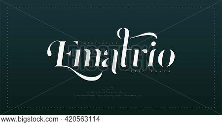 Luxury Vintage Alphabet Letters Italic Font. Typography Elegant Classic Lettering Serif Italic Fonts