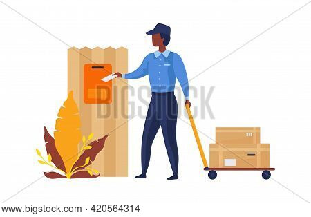 Postman Delivers Mail. Cartoon Postal Worker Throwing Letters Into Mailbox. Man Carrying Cart With P