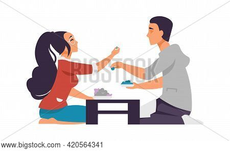 Cartoon Boy And Girl On Date. Happy Couple In Cafe. People Give Food To Try. Romantic Scene. Boyfrie
