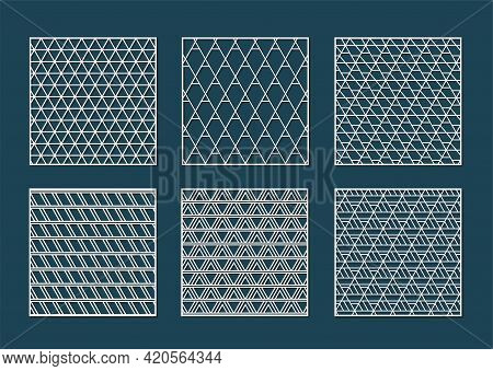 Abstract Geometry Triangle Pattern For Laser Cutting. Universal Greeting Card, Laser Cut Panel. Vect
