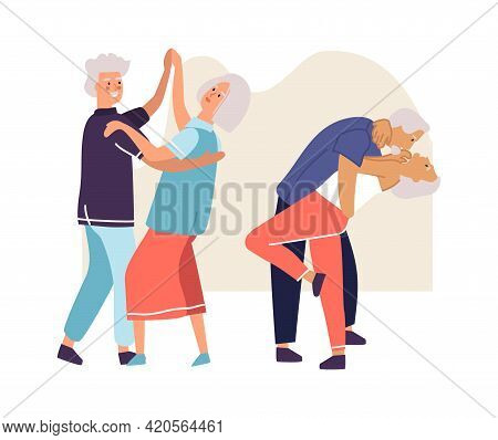 Elderly Couples Dancing. Senior People Activities. Aged Dancers Spend Time Together. Happy Pensioner