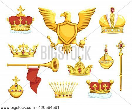 Cartoon Royal Symbols. Imperial Crowns. Scepter And Ord. Coat Of Arms With Eagle. King Or Queen Prec