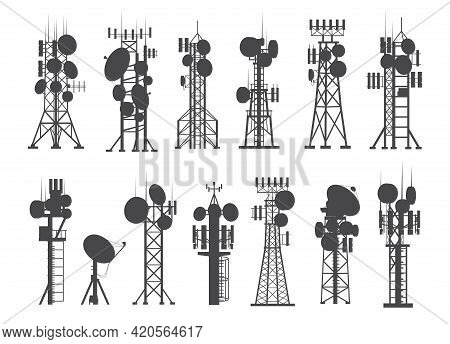 Antenna Silhouettes. Cellular Towers. Constructions Set For Broadcasting Digital Signals. Internet O