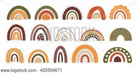Hand Drawn Rainbow. Doodle Multicolor Arcs. Cartoon Childish Sticker Set. Pastel Curve Lines. Minima