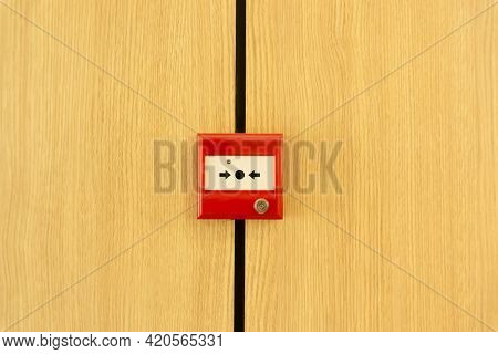 The Red Box Of Fire Alarm Sign On Yellow Wooden Container, Provide For Security And Safety