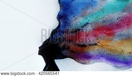 Mental Health, Imagination And Creativity Concept. Silhouette Photo Of Woman Combined With Colorful