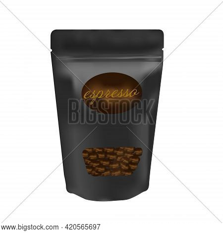 Black Packaging Aluminum Foil Zipper Coffee Beans Pouch Bag. Vector Illustration Creative Design