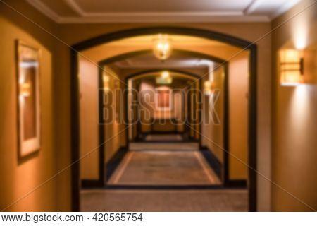 Blurred Of Interior Of Hotel Corridor, Passage.