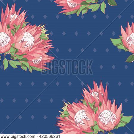 Blue And Pink Proteas Australian Natives Seamless Vector Repeat Pattern. Vector Illustration With Pr