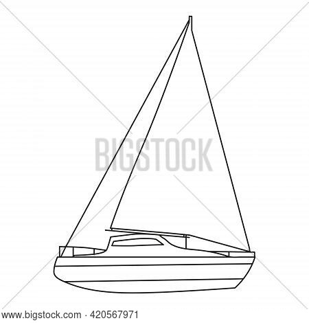 Sailboat Line Icon Logo Design Marines, Peedboat, Ship, Vessel, Side View. Vector Illustration Outli