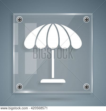 White Sun Protective Umbrella For Beach Icon Isolated On Grey Background. Large Parasol For Outdoor
