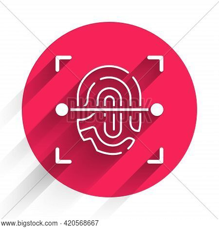 White Fingerprint Icon Isolated With Long Shadow. Id App Icon. Identification Sign. Touch Id. Red Ci