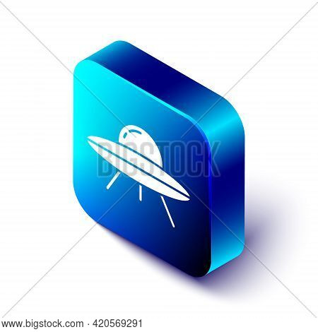 Isometric Ufo Flying Spaceship Icon Isolated On White Background. Flying Saucer. Alien Space Ship. F