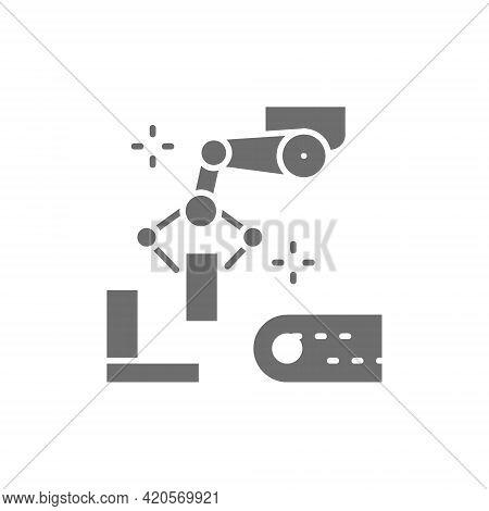 Robotic Manipulator Arm With Metal Parts, Metallurgy Production Gray Icon.