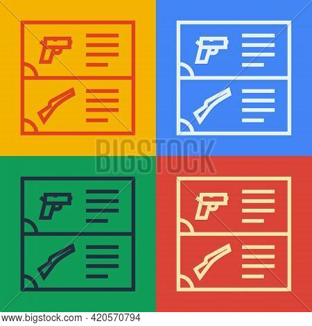Pop Art Line Weapon Catalog Icon Isolated On Color Background. Police Or Military Handgun. Small Fir