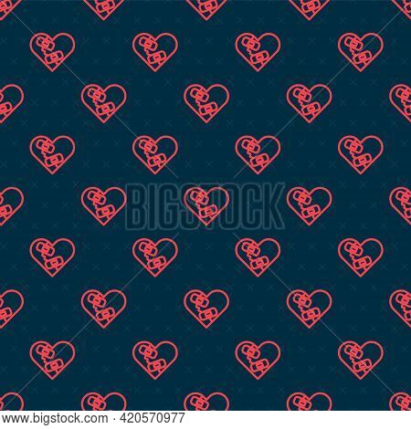 Red Line Healed Broken Heart Or Divorce Icon Isolated Seamless Pattern On Black Background. Shattere