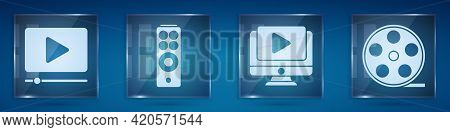Set Online Play Video, Remote Control, Online Play Video And Film Reel. Square Glass Panels. Vector