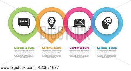 Set Speech Bubble Chat, Location And Mail And E-mail, Laptop With Envelope And Mail And E-mail. Busi