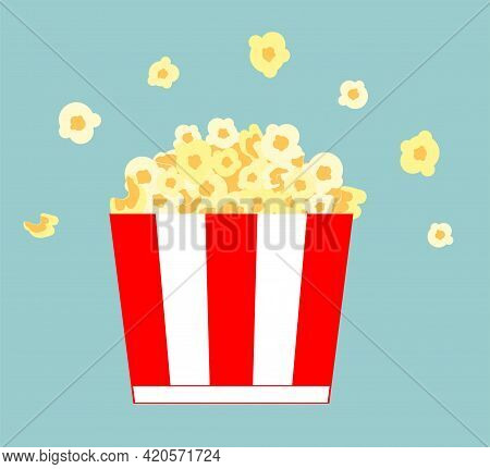 Popcorn Bucket. Realistic Illustration. Big Portion Popcorn. Cardboard Or Paper Bucket. Cinema Snack
