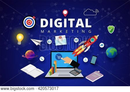 Digital Marketing Concept, Startup Project Work, Search Computer And Internet Communication, Social