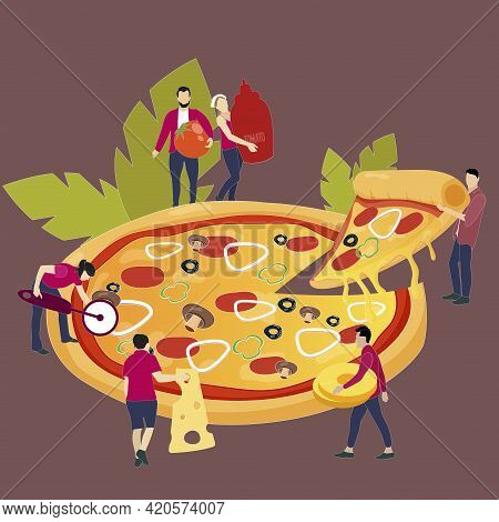 People Sharing Pizza Dinner. Vector Illustration. Tasty Fast Food Cartoon, Character With Piece Of P