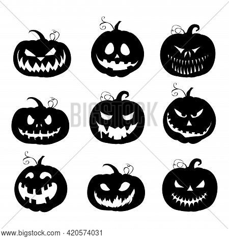 Halloween Black Pumpkins Silhouette Collection. Vector Autumn Horror Holiday, Celebration Jack Funny