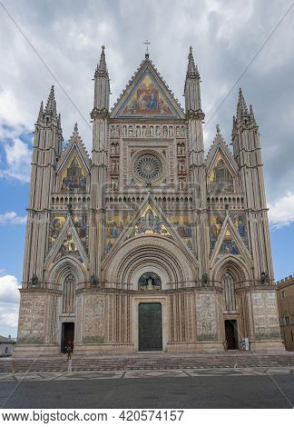 Scenic View Of  14Th-century Gothic Cathedral In Orvieto, Italy
