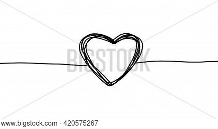 Continuous Line Heart. Thin Line Art. Simple Trendy Scribble Hand Drawn Shape.