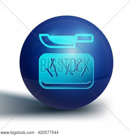 Blue Cutting Board And Knife Icon Isolated On White Background. Chopping Board Symbol. Cutlery Symbo