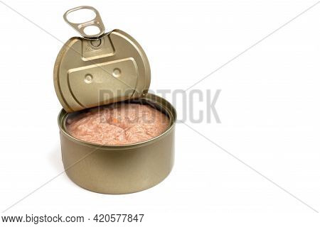 Wet Pet Food. Cat Canned Fish In An Aluminum Can On A White Background