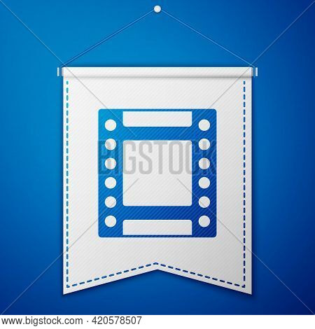 Blue Camera Vintage Film Roll Cartridge Icon Isolated On Blue Background. 35mm Film Canister. Filmst