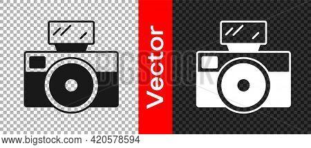 Black Photo Camera With Lighting Flash Icon Isolated On Transparent Background. Foto Camera. Digital