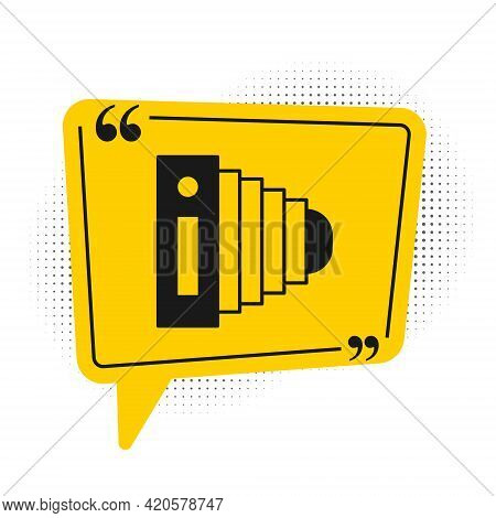 Black Photo Camera Icon Isolated On White Background. Foto Camera. Digital Photography. Yellow Speec