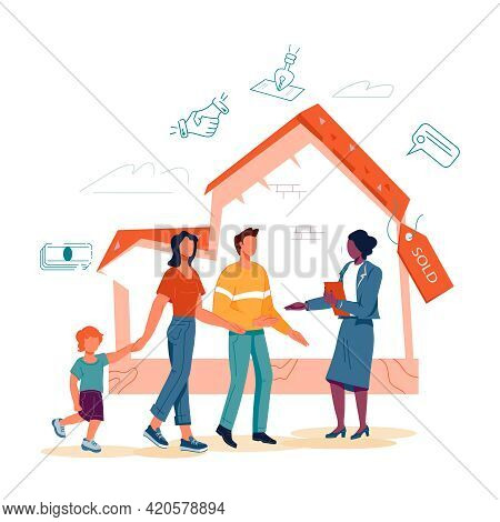 Real Estate Agent With Family Make Agreement About Property Purchasing At Sold House Background. Pro