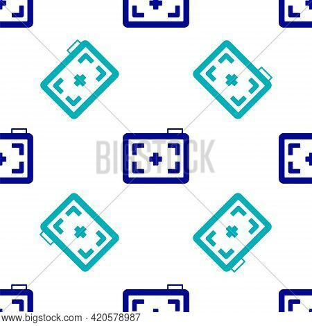 Blue Photo Camera Icon Isolated Seamless Pattern On White Background. Foto Camera. Digital Photograp