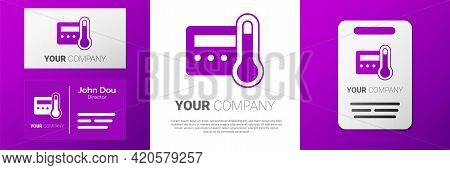 Logotype Thermostat Icon Isolated On White Background. Temperature Control. Logo Design Template Ele