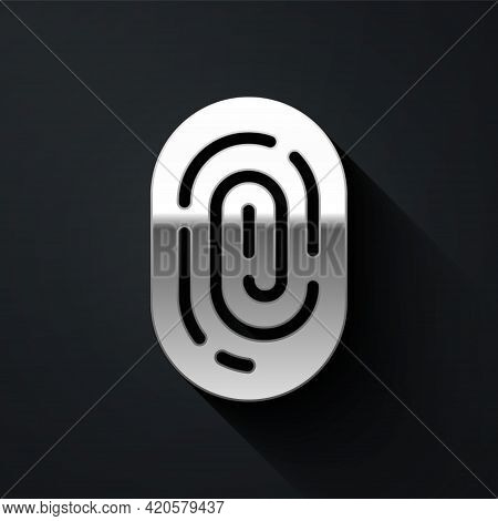 Silver Fingerprint Icon Isolated On Black Background. Id App Icon. Identification Sign. Touch Id. Lo