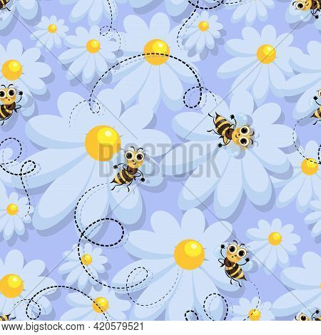 Bee Swarm. Vector Chamomile Background. Bees In A Camomile Meadow. Bee Meadow. Cute Cartoon Characte