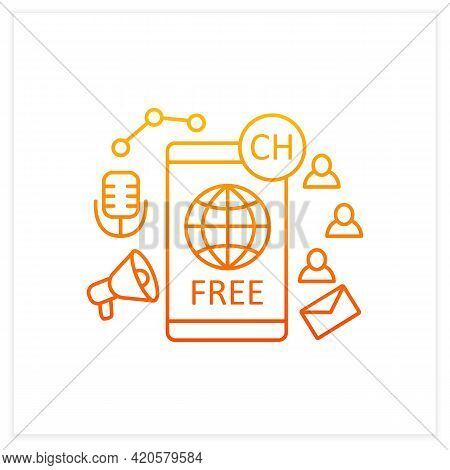 Free Application Gradient Icon. Chatting For Everyone. Public App. Global Social Media. Communicatio