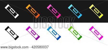 Set Construction Bubble Level Icon Isolated On Black And White Background. Waterpas, Measuring Instr