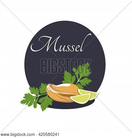 Vector Mussel With Parsley And Lime On A Black Background. Seafood