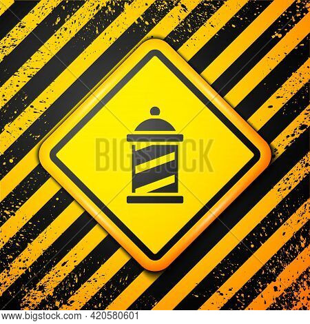 Black Classic Barber Shop Pole Icon Isolated On Yellow Background. Barbershop Pole Symbol. Warning S