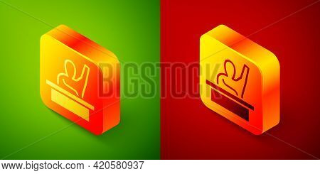 Isometric Active Male Kid Raising Hand Answering To Teacher Question Icon Isolated On Green And Red