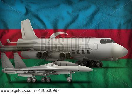 Air Forces On The Azerbaijan Flag Background. Azerbaijan Air Forces Concept. 3d Illustration