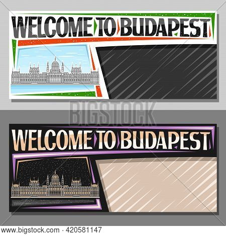 Vector Layouts For Budapest With Copy Space, Decorative Voucher With Line Illustration Of Budapest C