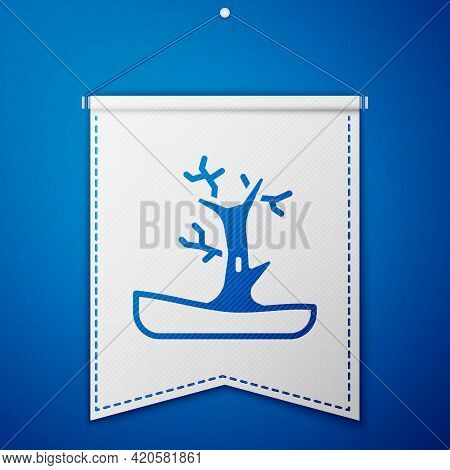 Blue Bare Tree Icon Isolated On Blue Background. White Pennant Template. Vector