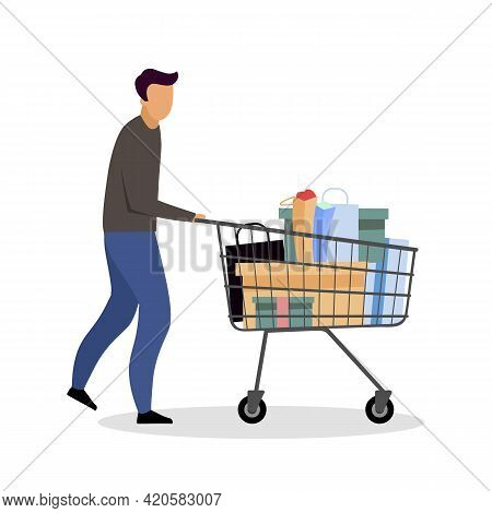 Buying Goods At Hypermarket Flat Color Vector Faceless Character. Shopping Cart. Grocery Supermarket