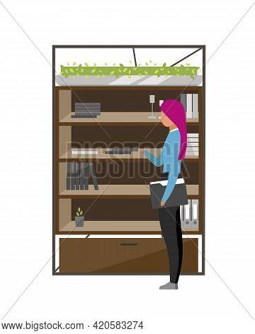 Office Worker Standing Near Cabinet Flat Color Vector Faceless Character. Documents Organizing On Sh