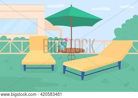 Sunbathing Area In Own Garden Flat Color Vector Illustration. Garden Party Equipment. Outdoor Space