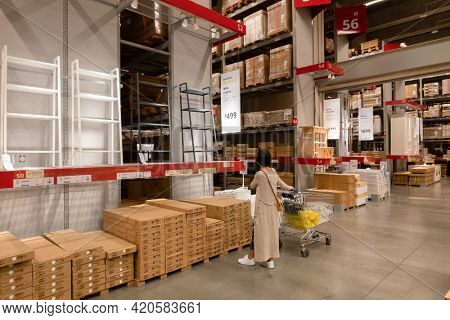 Taichung, Taiwan - august 31th, 2020: modern building interior of IKEA, famous furniture store supermarket  in Taichung, Taiwan, Asia